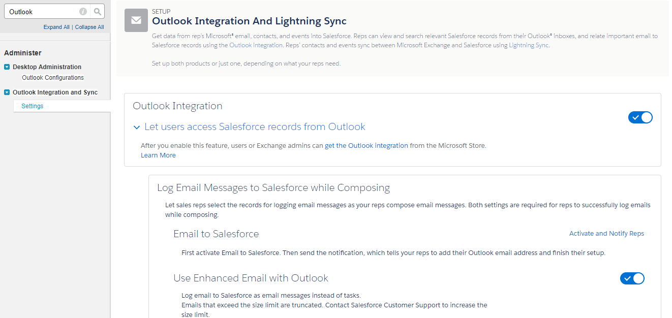 Outlook Integration and Lightning Sync
